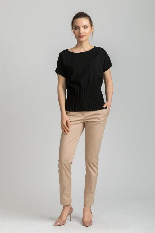 Bluza cu pliseuri neagra 6146W