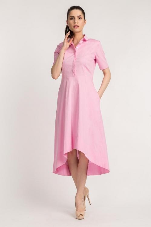 Rochie asimetrica roz 5606