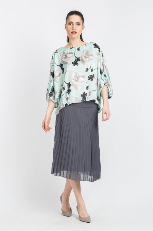 Bluza vernil cu imprimeu floral 5683B