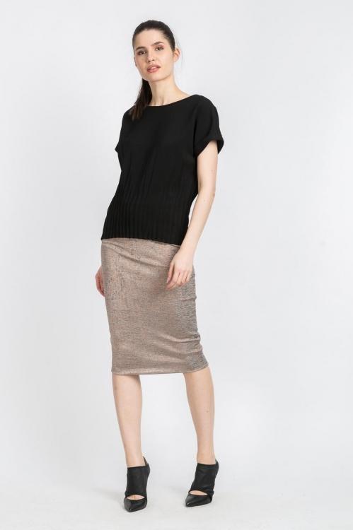 Bluza cu pliseuri neagra 6146