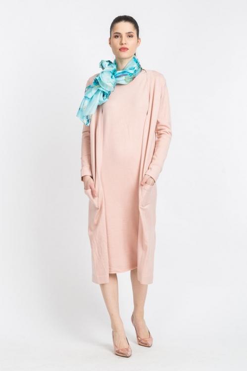 Cardigan lung roz 6007