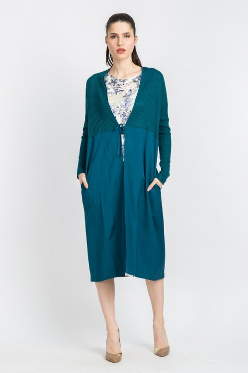 Cardigan turquoise lung 5727V