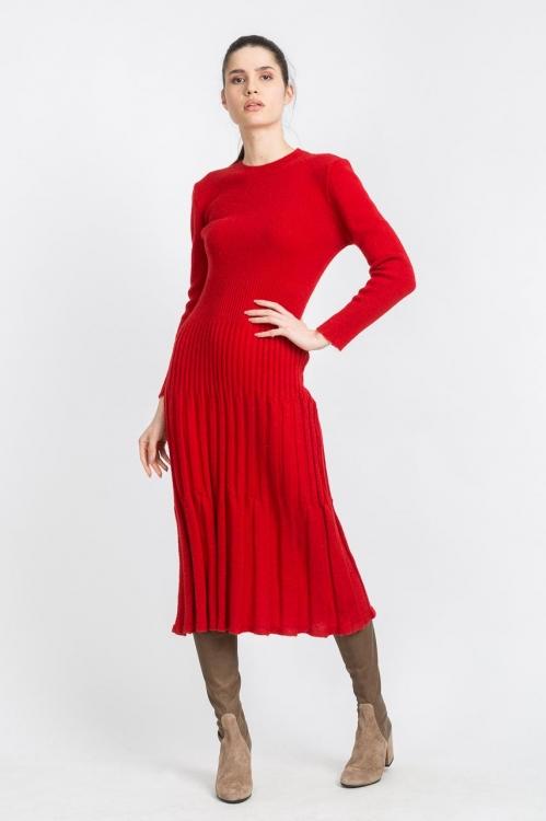 Rochie tricot rosie 6119
