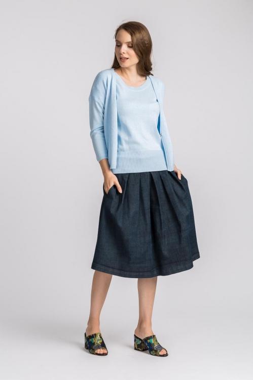 Cardigan tricot bleu 6155