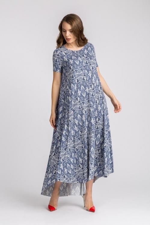 Rochie lunga cu imprimeu floral 5605