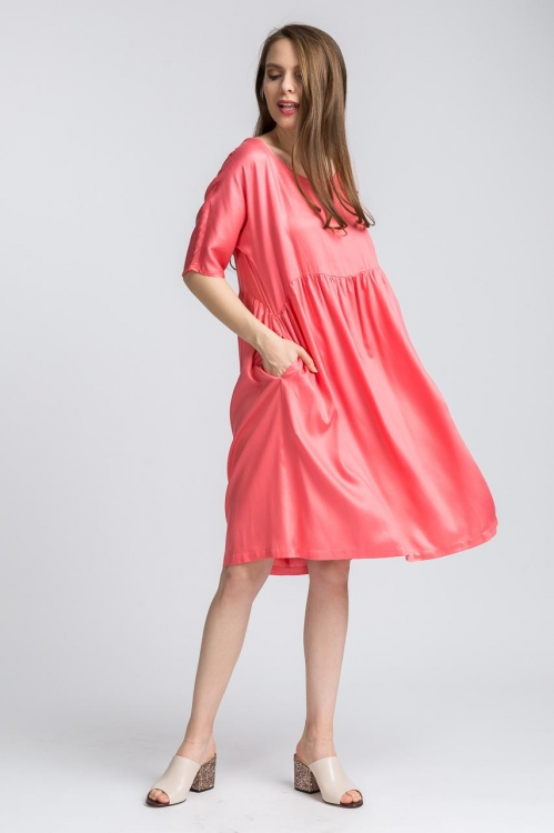Rochie lejera roz bumbac 5732V