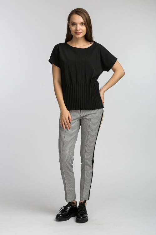 Bluza cu pliseuri neagra 6146V