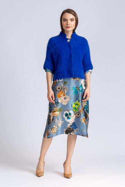 Cardigan scurt albastru cashmere 5557S
