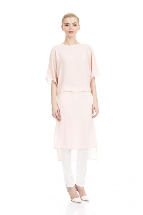 Rochie roz asimetrica 5411