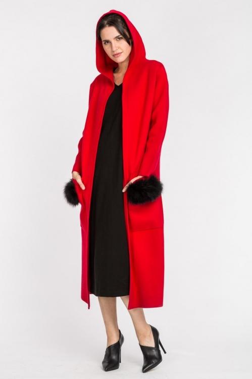 Jacheta lunga din casmir rosie 5558S