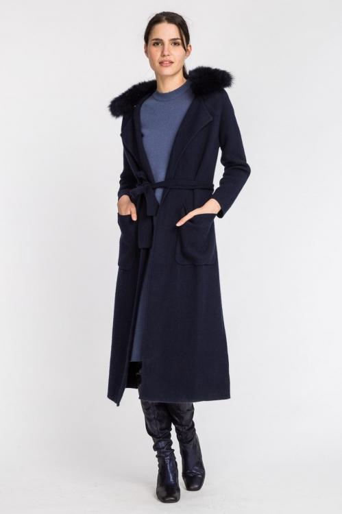 Jacheta lunga cu guler din blana 5593S