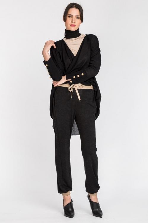 Pantalon negru jerse 6027