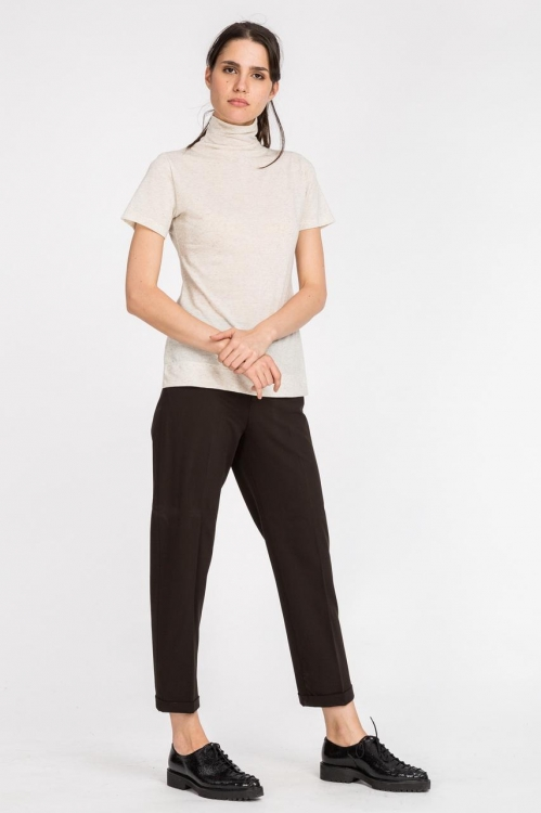 Pantalon maro cu manseta 78