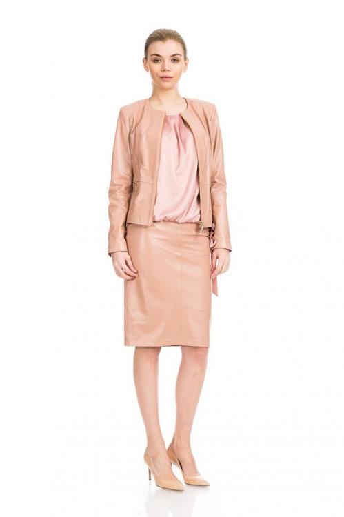 Jacheta roz din piele 5641