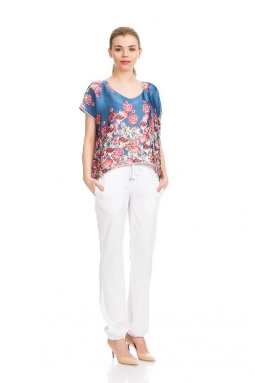 Pantalon alb cu siret 5669